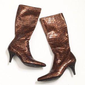 Ruby & Bloom | Bronze Crocodile Skin Heeled Boots